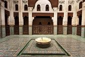 Interior Madrasa Courtyard With Fountain