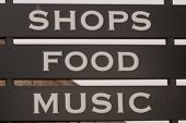 Shops,Food And Music Signage