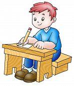 Boy In A Desk