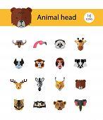 Animal Head Vector Icon Set. Cute Wild Cartoon Animals, Bear, Monkey, Lion, Elephant, Fox. Wildlife  poster