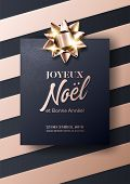 Joyeux Noel Et Bonne Annee Vector Card. Merry Christmas And Happy New Year In French. Minimalist Xma poster