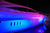 View Of Yacht With Party Lighting In South Beach