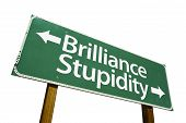 Brilliance, Stupidity - Road Sign poster