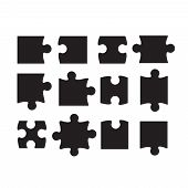 Jigsaw Puzzle Piece Vector Template Isolated. Jigsaw Piece Puzzle Object Illustration poster