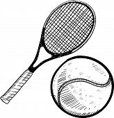 Tennis ball and racket sketch