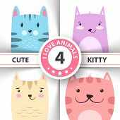 Cute, Funny Kitty, Cat Characters Hand Draw poster