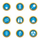 Chemical Science Icons Set. Flat Set Of 9 Chemical Science Icons For Web Isolated On White Backgroun poster