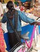 picture of dupatta  - An adolescent Indian girl with her bicycle - JPG
