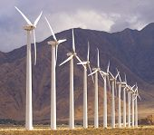 Wind Energy Being Stored By Very Large Wind Machines In Palm Desert, California. poster