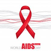 Vector Poster With Red Ribbon And Grey Lines Isolated On White Background. Aids Awareness Symbol In  poster