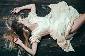 Beautiful Fashion Woman. Girl In Stylish Cloth With Long Hair. Beauty And Fashion Look. Makeup. Fash poster