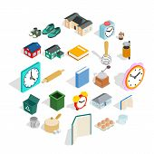 Home Library Icons Set. Isometric Set Of 25 Home Library Icons For Web Isolated On White Background poster