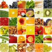 Collage de vegetal frutas.  Concepto de nutrición saludable