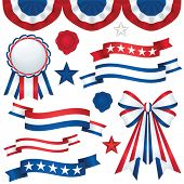 Collection of patriotic emblems, including banners, ribbons, and bunting in traditional red, white a