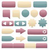 Web navigation buttons in subtle colors