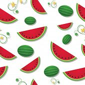 Raster version of refreshing slices of watermelon among swirling vines and whole fruit
