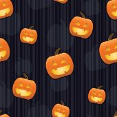Raster version of smiling jack-o-lanterns with glowing faces arranged on a seamless striped tile; gradients used.