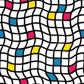 Plaids Irregular Handdrawn. Vector Seamless Pattern. Black Grid With Yellow, Blue, And Pinkish Red C poster