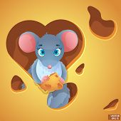 Vector Cute Cartoon Gray Mouse With Cheese. Fluffy Rat, Domestic Rodent. poster