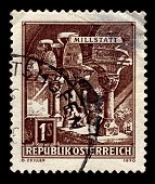 AUSTRIA-CIRCA 1970:A stamp printed in AUSTRIA shows image of Millstatt Abbey is a former monastery a