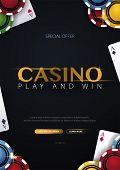 Casino Banner With Casino Chips And Cards. Poker Club Texas Holdem. Vector Illustration poster