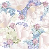 Vector Botanical Seamless Pattern With Hydrangea, Tulips Flowers. Modern Floral Pattern For Textile, poster