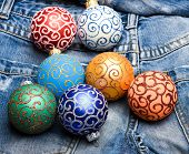 Pick Colorful Decorations. Modern Christmas Decor. Christmas Ornaments Or Decorations On Denim Pants poster