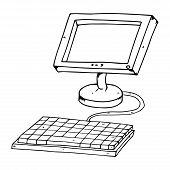 Flat Computer Monitor With Keyboard. Lcd Monitor. Vector Illustration Of A Flat Monitor. Hand Drawn  poster