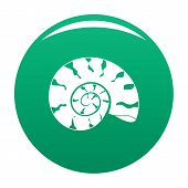 Round Shell Icon. Simple Illustration Of Round Shell Vector Icon For Any Design Green poster