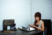 Final Draft. Senior Woman Type On Retro Typewriter. Old Woman Work In Writer Office. Journalist Work poster