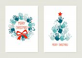 Chrismas Cards To Make With Kids. Handprint Christmas Tree With Red Star. Handprint Christmas Wreath poster