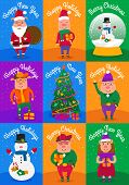 Set Of Funny Cute Cartoon Pig. Snowflake And Sant Claus Pig. Greeting Cards Merry Christmas And New  poster