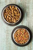 Dry pet food. Dry kibble food in metal bowl. Top view. poster