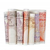 picture of british pound sterling note  - several british pound notes on a white background - JPG
