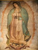 picture of guadalupe  - Virgin Mary Guadalupe Painting which was revealed by Indian Peasant Juan Diego in 1531 to Catholic Bishop Shrine of the Guadalupe Mexico City - JPG
