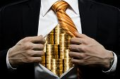 stock photo of corruption  - venality businessman or banker in black costume throw open one - JPG
