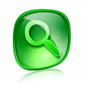 Magnifier Icon Green Glass, Isolated On White Background.
