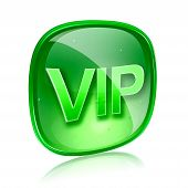 Vip Icon Green Glass, Isolated On White Background.