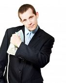Isolated Business Person Ironing Suit Jacket