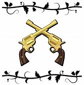 foto of crossed pistols  - Gold Crossed Guns isolated on white background - JPG