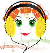 Lustiges Gesicht des Mädchens mit Kopfhörern