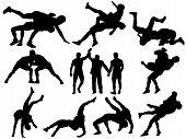 stock photo of umpire  - Wrestlers and referee vector silhouettes on white background - JPG