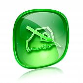 Email Icon Green Glass, Isolated On White Background.