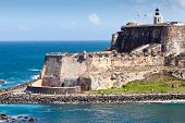 picture of el morro castle  - The edge and coastline of the El Morro Castle in San Juan Puerto Rico - JPG