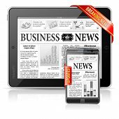 Breaking News concepto - Tablet Pc & Smartphone Business News