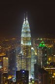 stock photo of petronas twin towers  - Twin towers at Kuala Lumpur  - JPG
