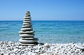 balanced stones on the sea beach