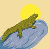 stock photo of tuatara  - Vector illustration of a tuatara isolated on yellow background - JPG