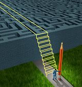 stock photo of overcoming obstacles  - Business strategy solutions as a concept for financial planning to overcome a confusing maze or labyrinth with new thinking as a businessman holding a pencil creating a drawing of a stairway bridge over the obstacle - JPG