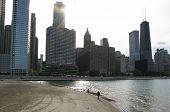 Sunset over Chicago skyline and Lake Michigan (USA)